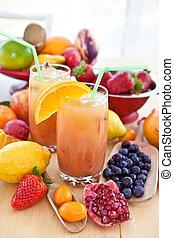 succo, fresco, vario, frutte