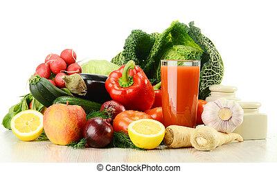 succo, vetro, verdura, isolato, crudo, w, composizione
