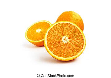 succoso, isolato, frutta, fondo, arancia, bianco