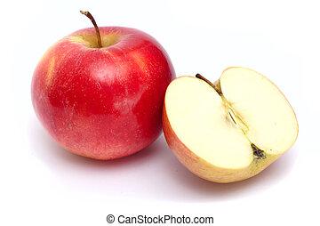 succoso, mela, fetta