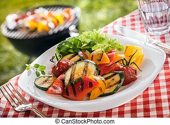 succulento, servire, vegetariano, verdura, arrostito, fresco