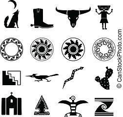 sud-ovest, deserto, icone