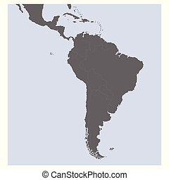 sud, vettore, politico, mappa, america