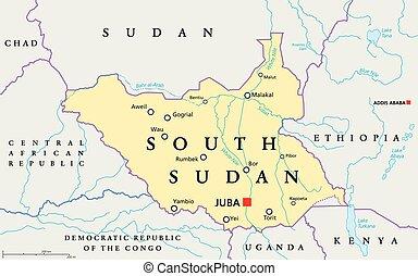 sudan, mappa, politico, sud