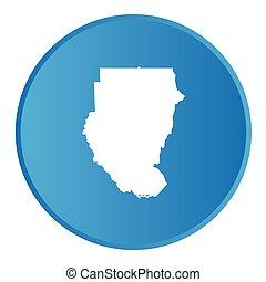 sudan, paese, bottone, contorno, 3d