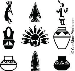 sudoccidentale, nativo, artefatto, icone