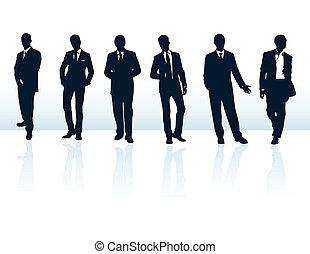 suits., più, uomo affari, blu, silhouette, mio, set, vettore, scuro, gallery.