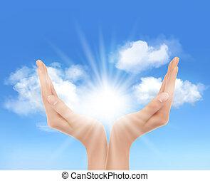 sun., mani, vector., luminoso