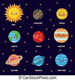 sun., sistema, solare, colorito, system., manifesto, piano, pianeti