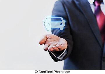 suo, automobile, virtuale, mano, palma, presentare, uomo affari