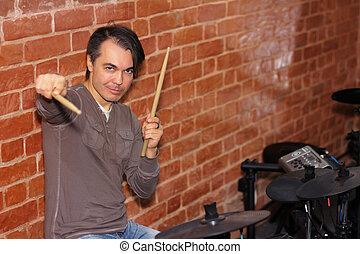 suo, bastoni tamburo, tamburino, musica, tamburi, mani, studio, elettronico, gioco