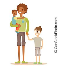 suo, family., padre, due, detenere, time., corsa, mescolato, bambini, bello