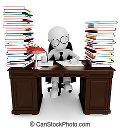 suo, lavorativo, seduta, scrivania, uomo, 3d