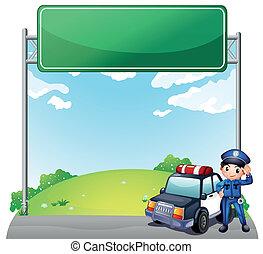 suo, polizia, poliziotto, automobile, giovane, signage, vuoto