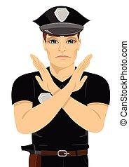suo, poliziotto, giovane, segno, forma, serio, braccia, mani, x, fabbricazione