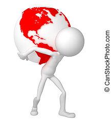 suo, spalle., globo, presa a terra, terra, uomo, 3d