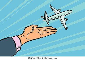 suo, spento, volerci, viaggiare, aereo, volo, turismo, hands.