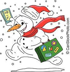 suo, vacanza, valigia, andare, inverno, vettore, cartone animato, illustrazione, pupazzo di neve