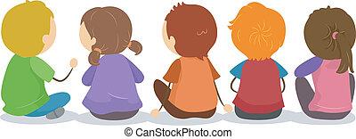 suolo, backview, bambini, seduta