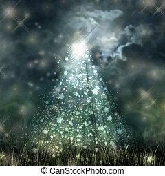 suolo, cielo, fluente, scuro, chiaro di luna, mistico