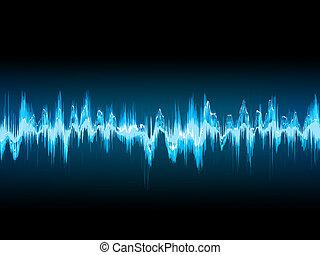 suono, 10, blue., eps, onda, scuro, luminoso
