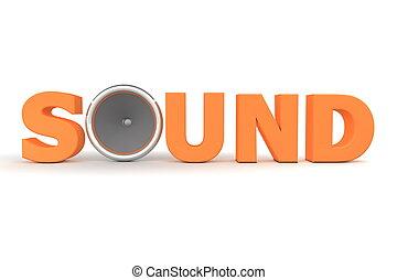 suono, altoparlante, -, arancia