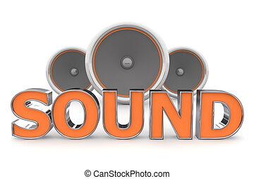 suono, arancia, altoparlanti, -