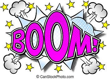 suono, comico, effetto, boom