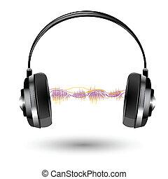 suono, cuffia, onda