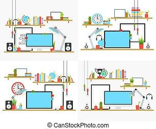 suono, serie caffè, illustration., ufficio, mensole, concetto, tazza, lampada, libro, vettore, disegno, posto lavoro, scrivania, acustico, computer
