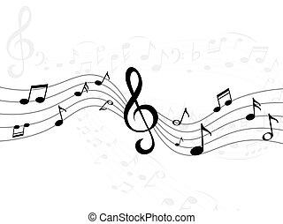 suono, triplo, musicale, vettore, linee, wave., stripes., pianoforte, chiave, note, musica, melodia, signature., symbols., curva, illustrazione, composizione, registrazione, acustico, signs., decorativo