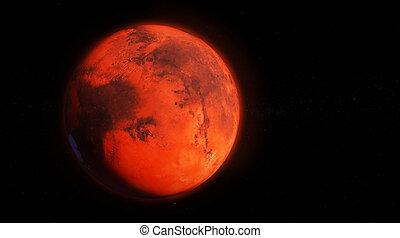 superficie, caratteristiche, render, dettagliato, illustrazione, 3d, atmosfera, alto, pianeta, marte