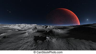 superficie, luna, vista, phobos, marte