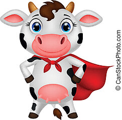 superhero, proposta, cartone animato, mucca