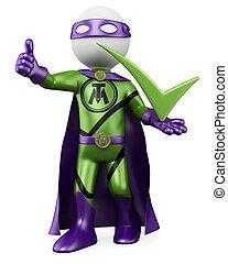 superhero, zecca, -, 3d, uomo
