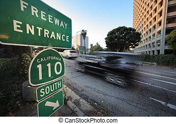 superstrada, automobile, entrare