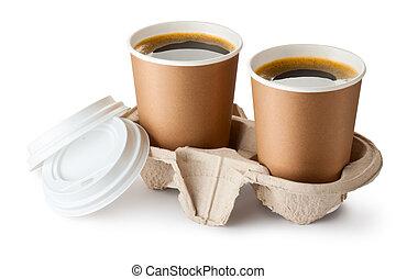 supporto, portar via, caffè, aperto, due