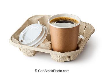 supporto, portar via, caffè, aperto, uno