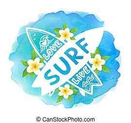 surf, blu, surfing, assi, bali, amore, vivere, segno, mano, acquarello, vettore, fondo, incrocio, disegnato, fiori bianchi