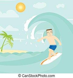 surfing tela, utile, illustration., anche, domanda, infographics., vettore, disegno, interfaccia, ocean., uomo