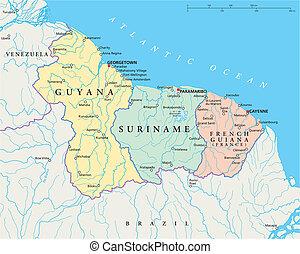 suriname, guiana, guyana, francese