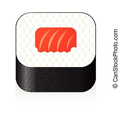 sushi, icona, vettore