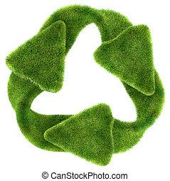 sustainability:, simbolo, riciclaggio, ecologico, erba verde