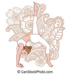 svanasa, pada, eka, fornito gambe, donne, adho, mukha, uno, pose., verso il basso, yoga, silhouette., prospiciente, cane