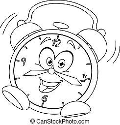 sveglia, delineato, cartone animato
