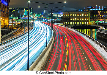 svezia, stoccolma, traffico, inverno, autostrada