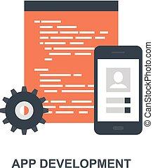 sviluppo, app, concetto, icona