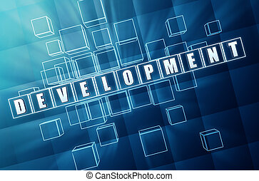 sviluppo, blu, cubi, vetro