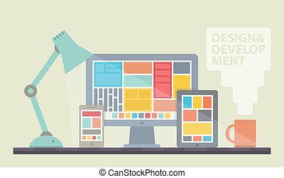 sviluppo, disegno web, illustrazione