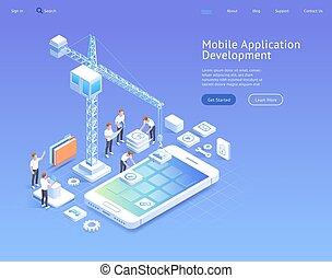sviluppo, isometrico, mobile, domanda, vettore, illustrations.